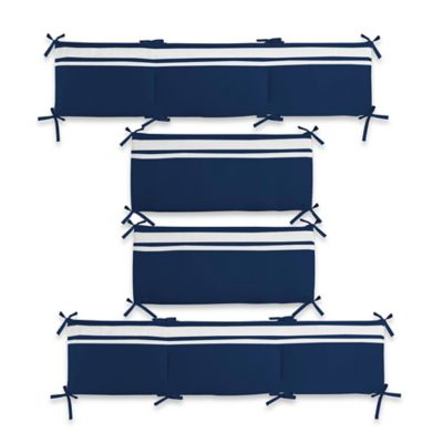 CoCaLo® Mix & Match Connor Reversible Solid 4-Piece Crib Bumper Set in Navy
