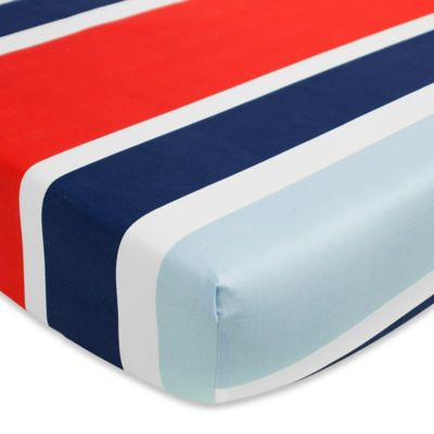 CoCaLo® Mix & Match Connor Deck Stripe Fitted Crib Sheet in Blue/Red