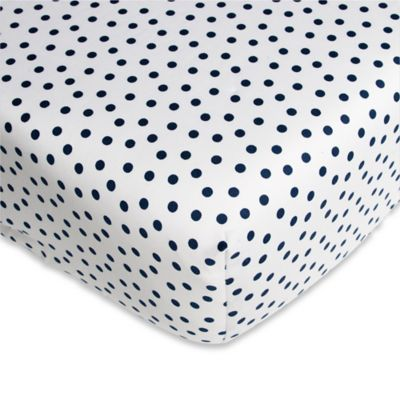 Fitted Crib Sheet in White/Navy
