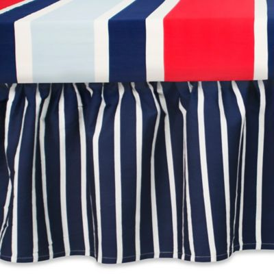 CoCaLo® Mix & Match Connor Ruffle Stripe Crib Skirt in Navy/White