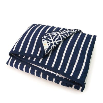 CoCaLo® Mix & Match Connor Trellis & Lattice Coverlet in Navy/White