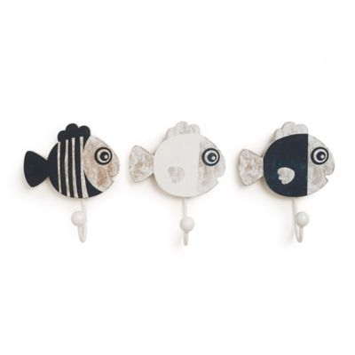 CoCaLo® Mix & Match Connor 3-Piece Fish Wall Hook Set in Navy/White