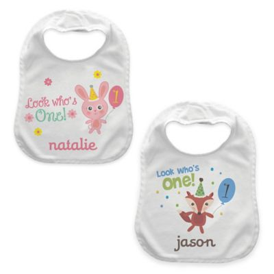 """Look Who's One"" Girl's Birthday Bib in Pink/White"
