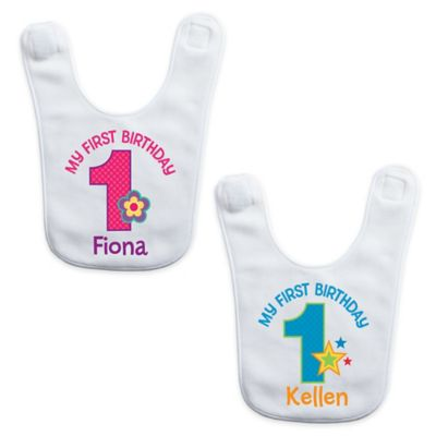 """My First Birthday"" Baby Boy Bib in White/Blue"