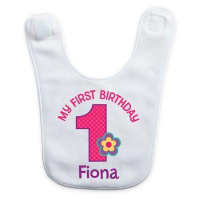 """My First Birthday"" Baby Girl Bib in White/Pink"