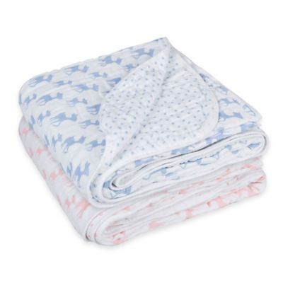 Lassig Lela Cozy Swaddle & Burp Blanket in Light Blue
