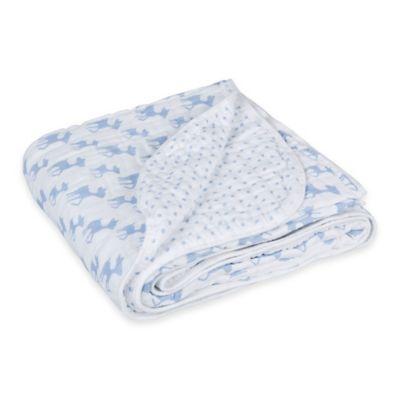 Lassig Lela Cozy Swaddle & Burp Blanket in Light Blue