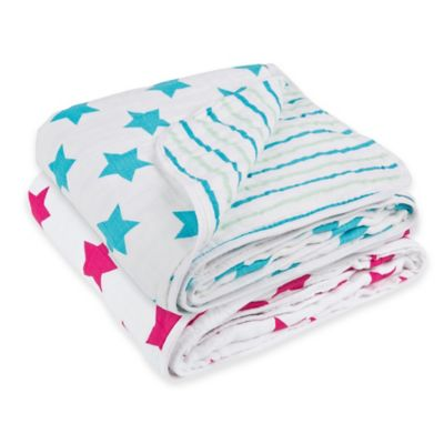 Lassig Stars & Stripes Cozy Swaddle & Burp Blanket in Aqua