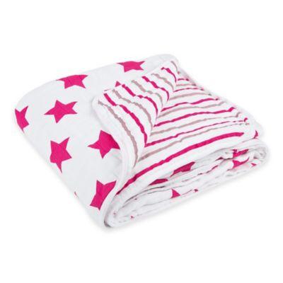 Lassig Stars & Stripes Cozy Swaddle & Burp Blanket in Pink