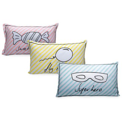 "Greenbuds ""Super Hero"" Hand Illustrated Organic Cotton Toddler Pillow Cover in Blue"