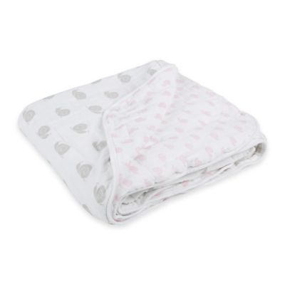 Lassig Sweet Snails Cozy Swaddle & Burp Blanket in Pink/Grey