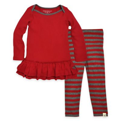 Burt's Bees Baby™ Size 3T 2-Piece Organic Cotton Thermal Dress and Legging Set in Red/Grey