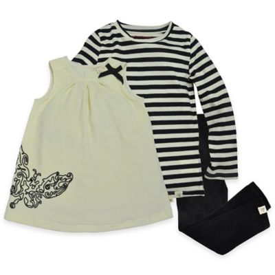 Burt's Bees Baby™ Size 3T 3-Piece Organic Cotton Velour Butterfly Dress Set in Black/White