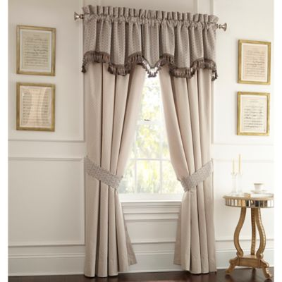 Waterford® Linens Folie Pole Top 84-Inch Window Panel Pair in Beige