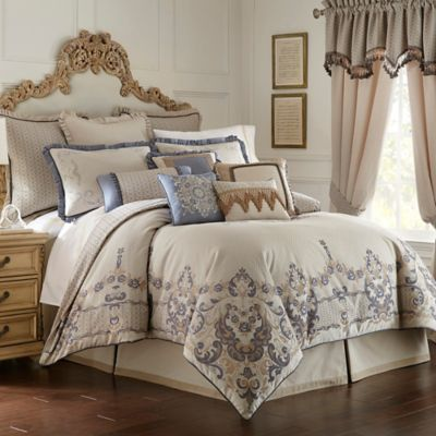 Waterford® Linens Folie Reversible Queen Comforter in Beige