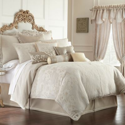 Waterford® Linens Genevieve Reversible Queen Comforter Set in Ivory