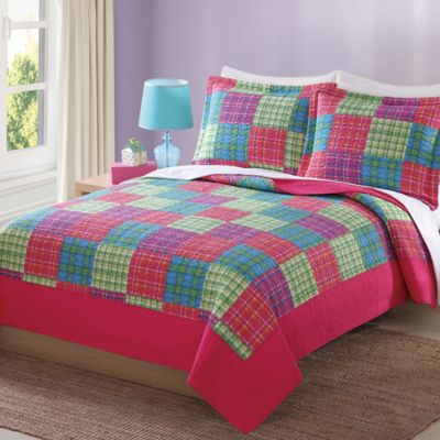 My World® Antonia Bright Plaid Reversible Twin Quilt Set