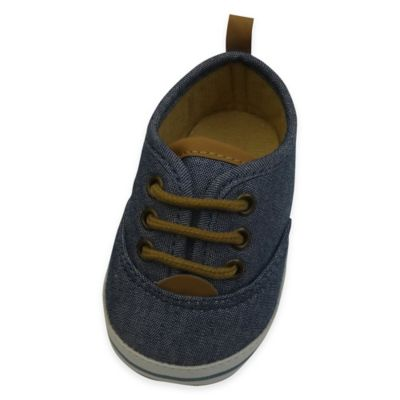 Rising Star™ Size 6-9M Chambray Lace-Up Sneaker in Blue