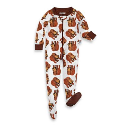 Intimo™ Size 24M Zip Front Eric Carle Brown Bear Footed Pajama