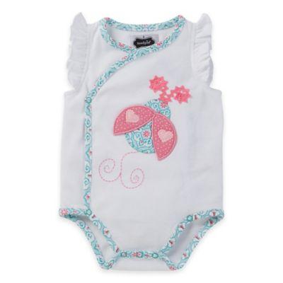 Mud Pie® Size 3M Ladybug Kimono Flutter Sleeve Bodysuit in White/Pink/Aqua