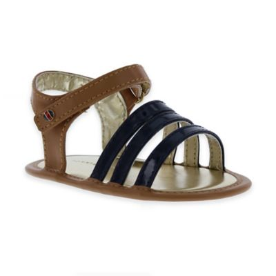Size 6-9M Strappy Vinyl Sandal in Brown/Navy