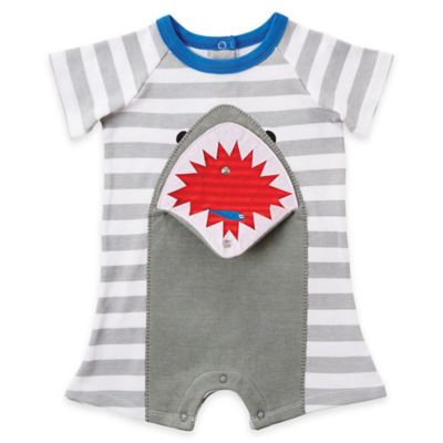 Mud Pie® Size 9M Shark Flap Mouth Romper in Grey/Red/ Blue