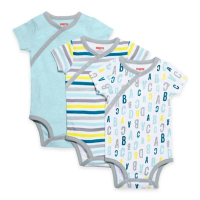 SKIP*HOP® ABC-123 Newborn 3-Pack Side-Snap Short Sleeve Bodysuit Set in Blue