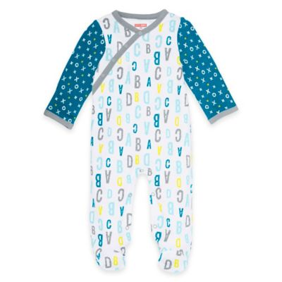 SKIP*HOP® ABC-123 Newborn Side-Snap Long Sleeve Footie in Blue