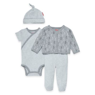 SKIP*HOP® ABC-123 Newborn 4-Piece Welcome Home Pant Set with Hat in Grey