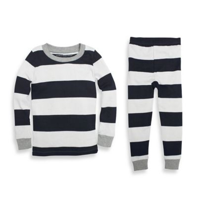 Burt's Bees Baby® Size 18M 2-Piece Organic Cotton Long-Sleeve Rugby Stripe Pajama Set in Navy