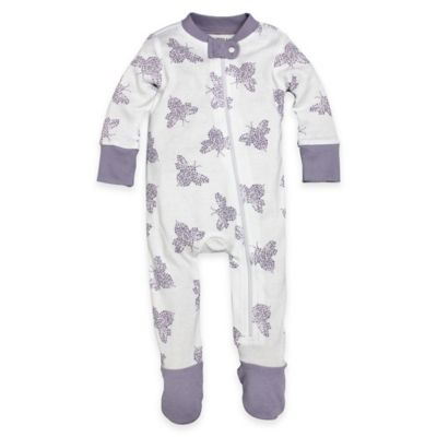 Burt's Bees Baby® Snuggle Bee Size 24M Organic Cotton Bumble Bee Footed Pajama in Purple