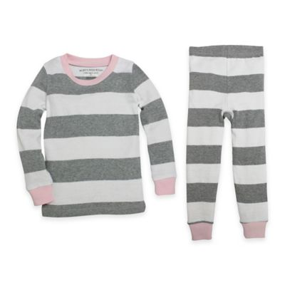 Burt's Bees Baby® Size 12M 2-Piece Organic Cotton Rugby Stripe Tee and Pant PJ Set in Pink