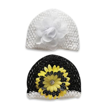Stepping Stones Size 0-12M 2-Pack Flower Woven Hats