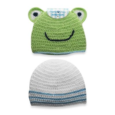 Stepping Stones 2-Pack Size 0-12M Frog Crochet Hat