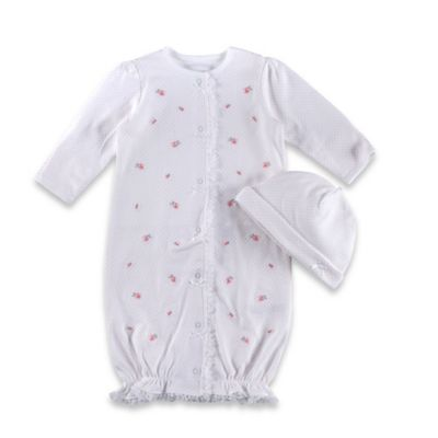 Little Me® 2-Piece Baby Blooms Gown and Hat Set in White/Pink