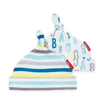 SKIP*HOP® Modern Baby Basics ABC-123 Baby Hat (2-Pack) in Aqua/Grey
