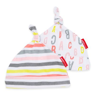 SKIP*HOP® Modern Baby Basics ABC-123 Baby Hat (2-Pack) in Pink/Grey