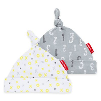 SKIP*HOP® Modern Baby Basics ABC-123 Baby Hat (2-Pack) in Yellow/Grey