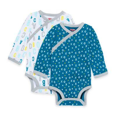 SKIP*HOP® ABC-123 Preemie 2-Pack Side-Snap Long Sleeve Bodysuits in Blue
