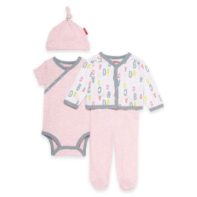 SKIP*HOP® ABC-123 Preemie 4-Piece Welcome Home Pant Set with Hat in Pink