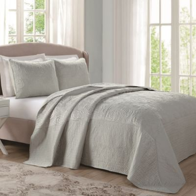Laura Ashley® Ecru Floral Stitched Queen Bedspread in Sage