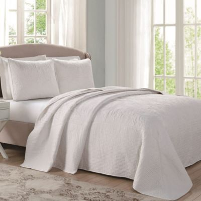 Laura Ashley® Ecru Floral Stitched King Bedspread in Sage