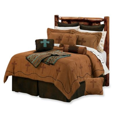 HiEnd Accents Cross 7-Piece Queen Comforter Set in Brown