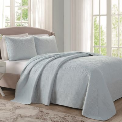 Laura Ashley® Ecru Floral Stitched King Bedspread in Sky Blue
