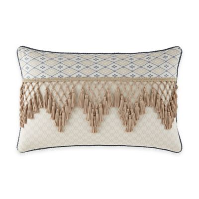 Waterford® Linens Folie Fringe Oblong Throw Pillow in Beige