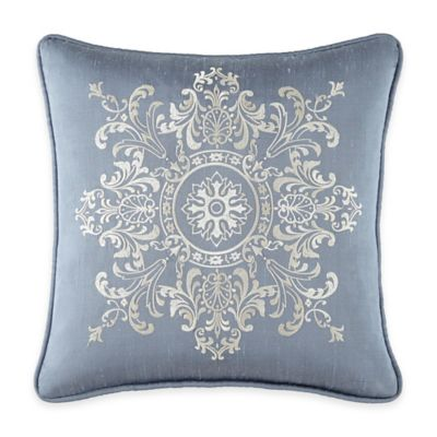 Waterford Linens® Folie Embroidered Square Throw Pillow in Slate
