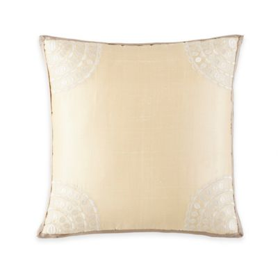 Waterford® Linens Genevieve Embroidered Square Throw Pillow in Sand