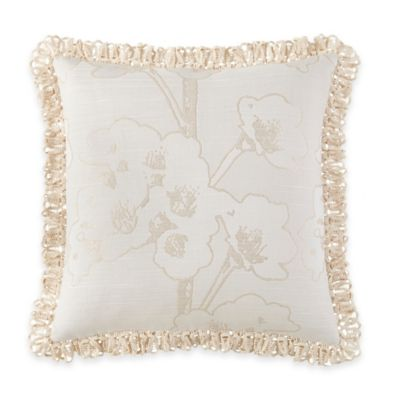 Waterford® Linens Genevieve Floral Square Throw Pillow in Ivory