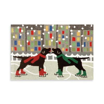 Holiday Dogs on Ice 20-Inch x 30-Inch Indoor/Outdoor Rug in Multi