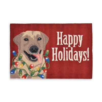 """Happy Holidays!"" 20-Inch x 30-Inch Indoor/Outdoor Rug in Red"